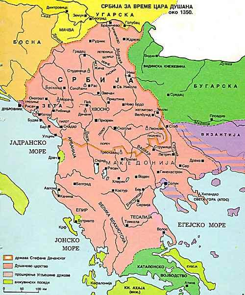 Dušanovo carstvo oko 1350. godine